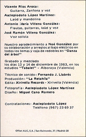 "Parte interior del cassette de ""La Retahila"""